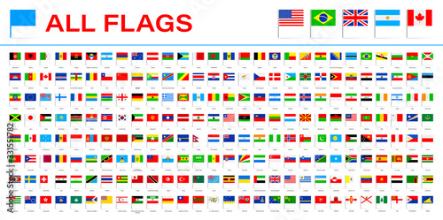 Fototapeta All World Flags - Vector Pin Flat Icons. 2020 versions of flags obraz