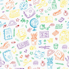 Back To School. Seamless Pattern Of Multicolor School Supplies. Hand Drawn Doodles Illustration