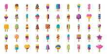 Bundle Of Ice Creams Set Icons