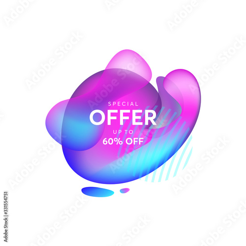 Fototapety, obrazy: Abstract liquid shape. Fluid design, abstract modern graphic elements. Dynamical colored forms and line. Gradient abstract banners with flowing liquid shapes