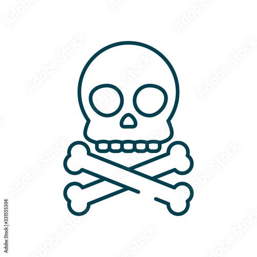 фотография toxic symbol, skull and crossbones icon, line style