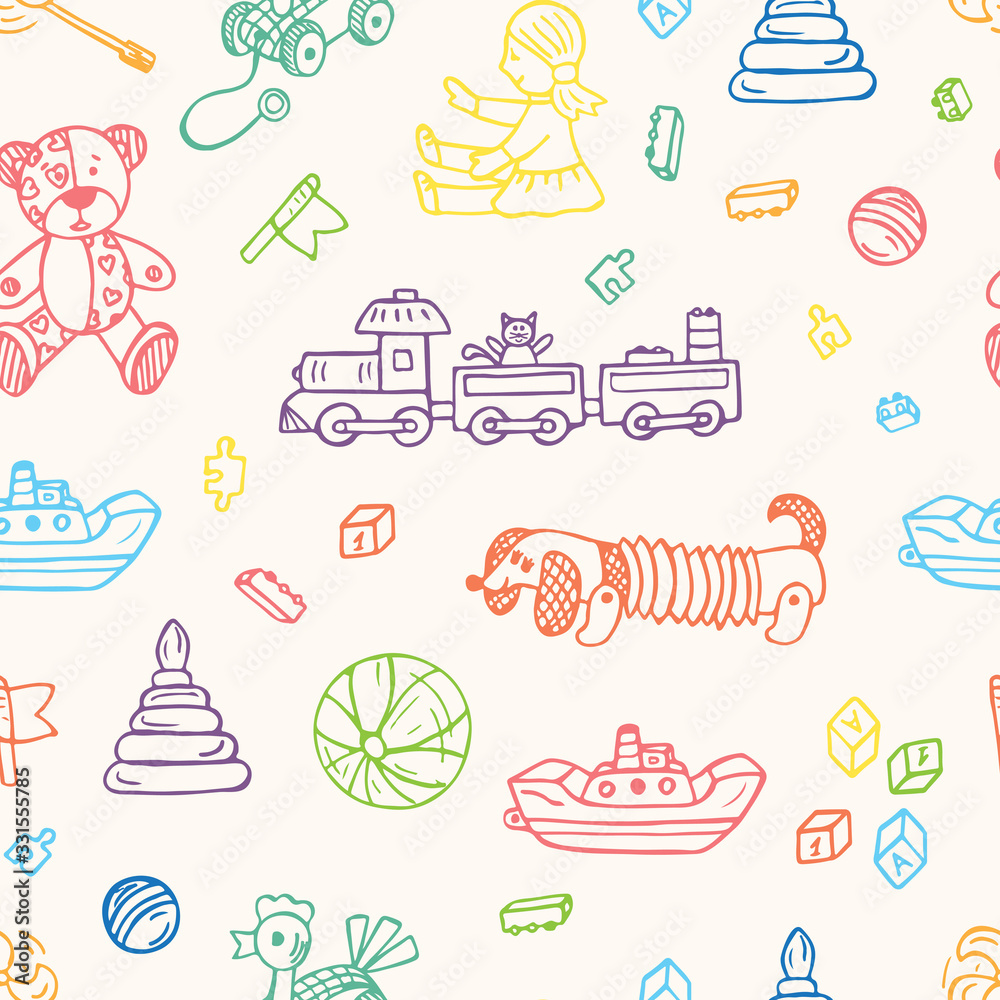 Toys doodle seamless pattern. Colorful Kids background. Endless wallpaper.