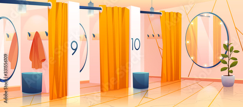 Fitting rooms in store, row of dressing cabins Fototapete