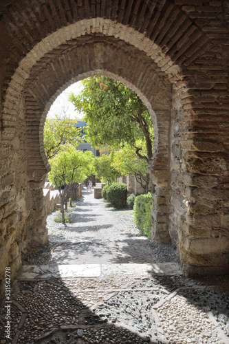 Fototapety, obrazy: Stones tunnel in a ancient muslim fortification, La Alcazaba, Malaga, Spain