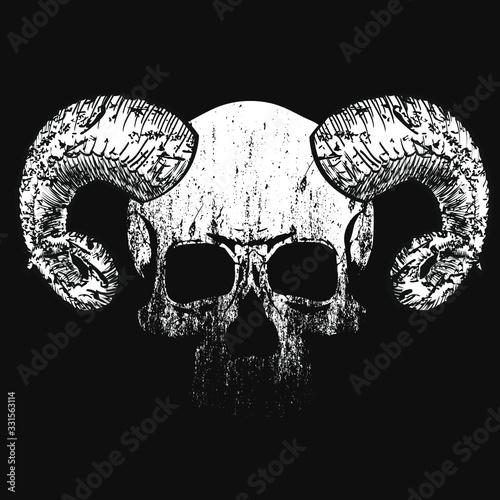 Obraz na plátně Vector design for t-shirt of a diabolic skull with horns isolated on black