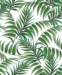 Panel Szklany Na stół i biurko Green tropical palm leaves seamless vector pattern on the black background.Trendy summer print.