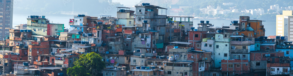 Fototapeta Favelas in the city of Rio de Janeiro. A place where poor people live.