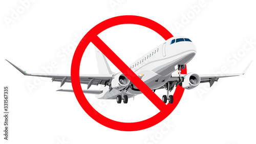 Ban flying. forbidden sign with realistic style airplane. #331567335