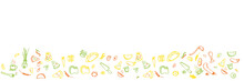 Colorful Food Doodle Background For Wide Banner On White Background