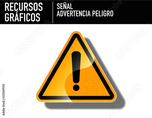 Fotografie, Obraz Recurso Gráfico. Señal de Peligro