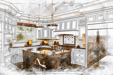 Beautiful Custom Kitchen Design Drawing Illustration Details