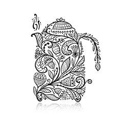 Fototapeta Do kuchni Floral teapot design