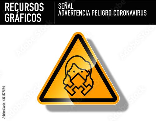 Fotografie, Obraz Señal de mujer con filtro respiratorio por corona virus