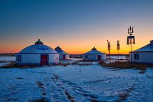 Mongolian Yurts On The Grassla...
