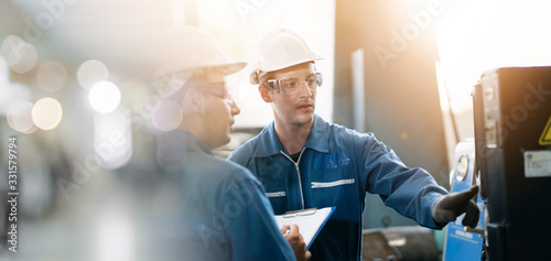 Professional engineering, worker, Man Quality control, maintenance, check in factory, warehouse Workshop for factory operators, engineering men control Canvas Print