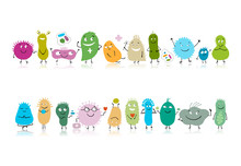 Funny And Scary Bacteria Characters Isolated On White. Vector Icons Of Gut And Intestinal Flora, Germs, Virus.