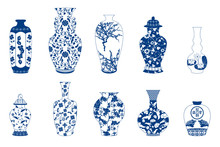 Vase Set Isolated On White. Chinese Porcelain Vase, Ceramic Vase, Antique Blue And White Pottery Vase With Landscape Painting. Oriental Decorative Elements Collection Of Vases For Your Interior Design