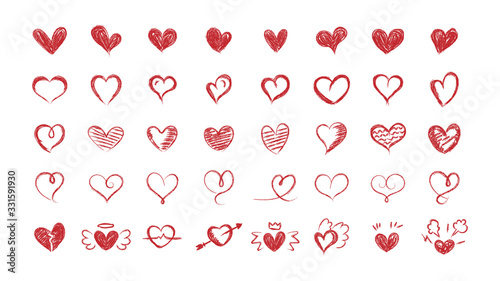 Set of red hearts. Hand drawn hearts. Vector illustration. Fototapeta