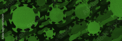 Photo covid-19 coronavirus background with droplet virus illustration airborne over green fluid backdrop