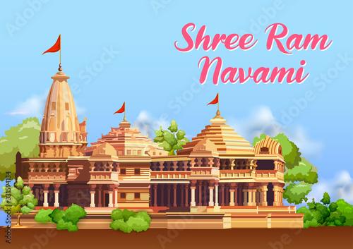 Fotografija illustration of Shree Ram Navami celebration background for religious holiday of