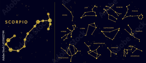 Fotografia Vector golden and glitter horoscope signs and constellation