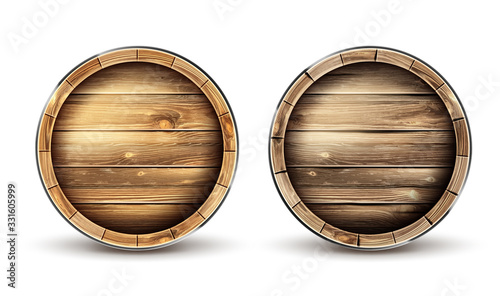 Wooden barrels for wine, beer or whiskey set top view Canvas Print