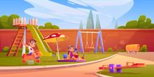 Kids On Playground In Summer P...