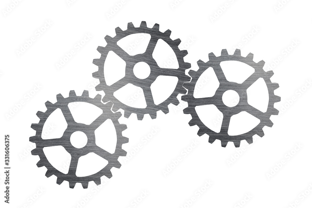 Fototapeta ndustrial cogs stainless steel with connect on top-view, isolated on white background, teamwork and join together on business concept
