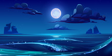 Night Sea Landscape With Moon,...
