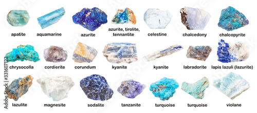 set of various blue unpolished stones with names Canvas Print