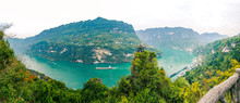 Panoramic Scenic View Of Three Gorges Tribe Scenic Spot Along The Yangtze River; Located In The Xiling Gorge Of Three Gorges, Yichang, Hubei, China