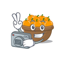 Orange Fruit Basket Mascot Des...