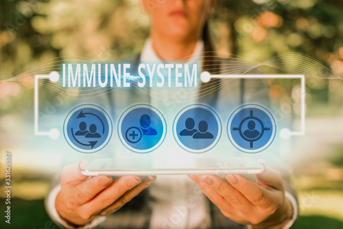 Fototapeta Text sign showing Immune System. Business photo showcasing host defense system comprising many biological structures obraz