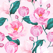 Pink Peony Patterns Seamless V...