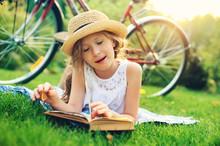Dreamy Kid Girl Reading Book O...