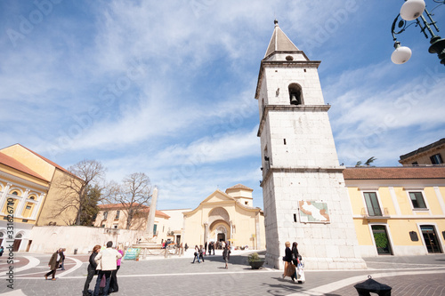 Benevento, Campania, Italy - march 2 2017: people walking near the church of San Canvas Print