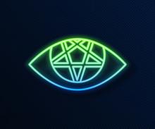 Glowing Neon Line Pentagram Ic...