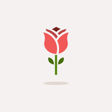 Rose. Color Icon With Shadow. ...