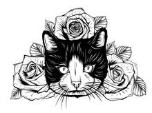 Hand Drawn Portrait Of Cat Wit...