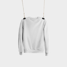 Template Of White Textile Heather Hanging On A Rope, Front View, Isolated On Background.