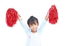 Asian Little Girl Holding Red ...