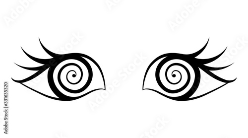 Pair of eyes with bewitched gaze Canvas Print