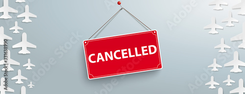 White Paper Jets Gray Sign Cancelled Header Wallpaper Mural