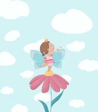 Little Cute Fairy Girl Smiling From The Daisy Flower