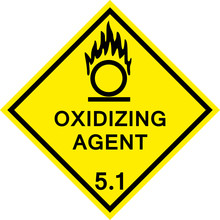 Oxidizing Agent Caution Sign. Dangerous Goods Placards Class 5.1. Black On Yellow Background.