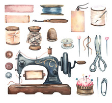 Watercolor Hand Painted Sewing...