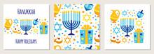 Cute Set Of Happy Hanukkah, Festival Of Lights Backgrounds In Flat Style