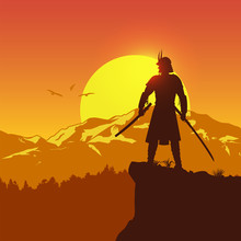 Silhouette Of Japanese Samurai With Sword Standing On Top Of A Hill At Sunset, Vector