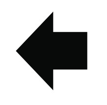 Black Large Reverse Or Left Pointing Solid Arrow Icon Sketched As Vector Symbol