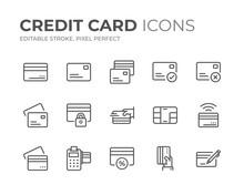 Credit Card Line Icons Set